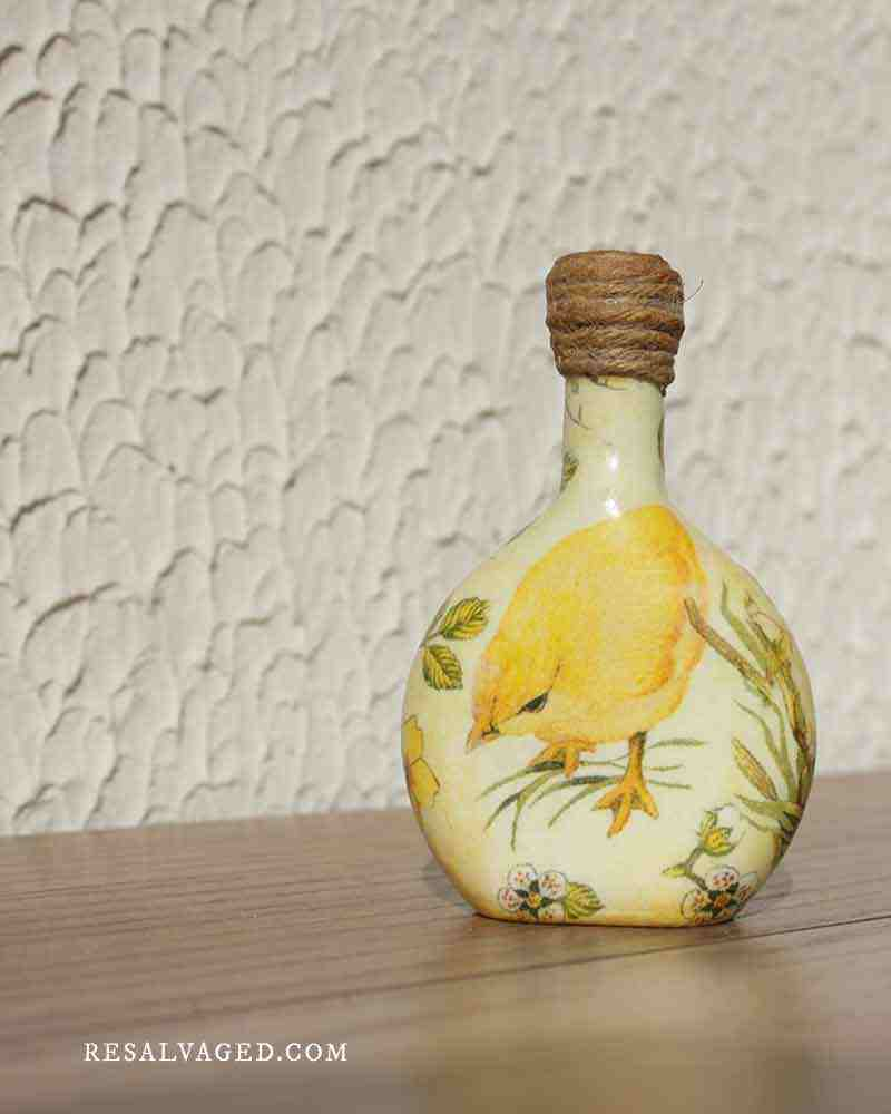 bird vase decoupage bottle