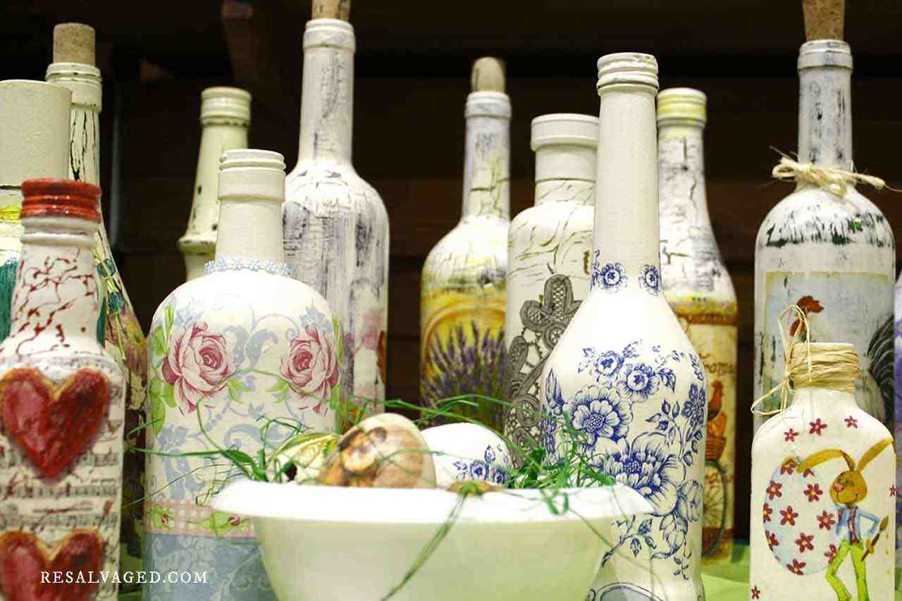 decoupaged and painted bottles collection