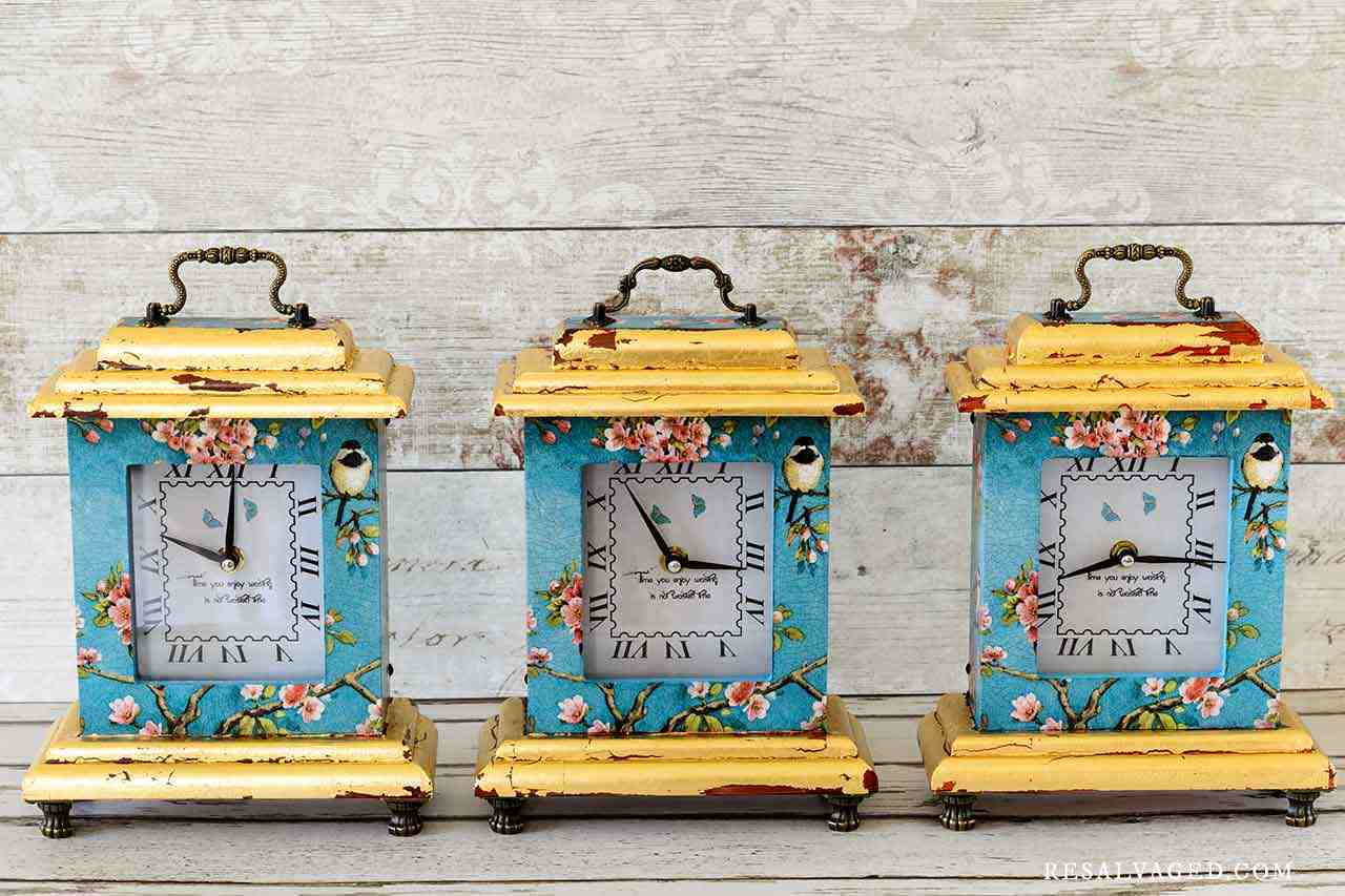 decoupaged clocks