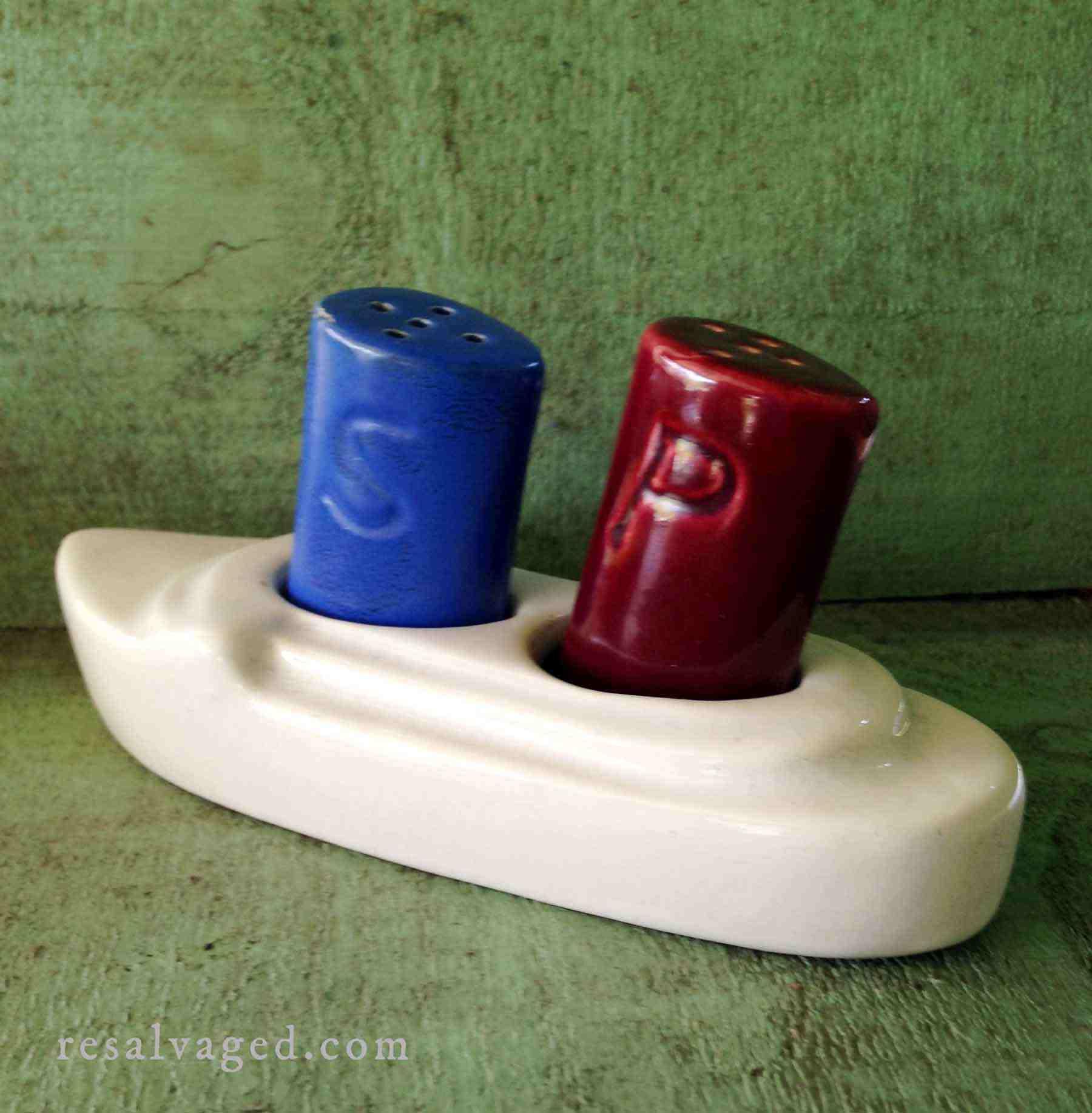 Vintage Ocean Liner Salt And Pepper Shaker Camark Pottery